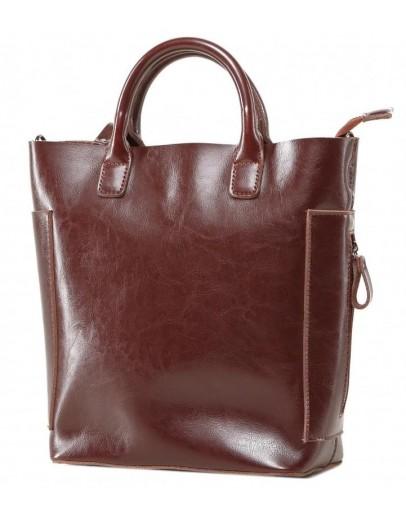 Фотография Кожаная коричневая женская деловая сумка GR-8848B