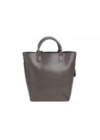 Кожаная серая женская деловая сумка GR-8848G