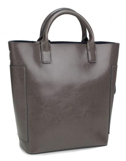 Фотография Кожаная серая женская деловая сумка GR-8848G