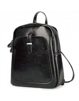 Кожаный женский черный рюкзак GR-8860A