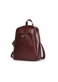 Бордовый женский кожаный рюкзак GR-8860BO