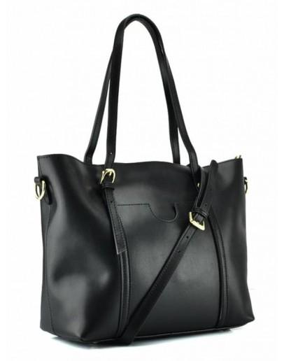 Фотография Кожаная черная женская деловая сумка GR3-172A