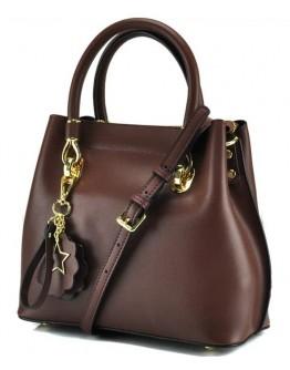 Женская кожаная коричневая небольшая сумка GR3-5015DB