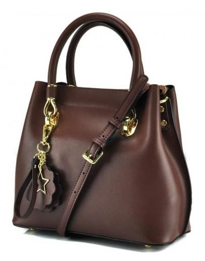 Фотография Женская кожаная коричневая небольшая сумка GR3-5015DB