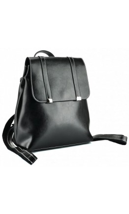 Удобный черный женский кожаный рюкзак GR3-6095A-BP
