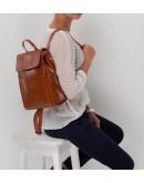 Фотография Кожаный коричневый женский рюкзачек GR3-806LB-BP
