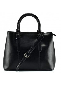 Черная кожаная женская сумка в руку и на плечо GR3-857A