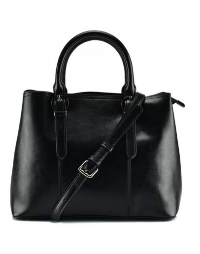 Фотография Черная кожаная женская сумка в руку и на плечо GR3-857A