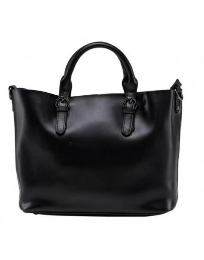 Фотография Женская кожаная сумка черного цвета GR3-8683AM