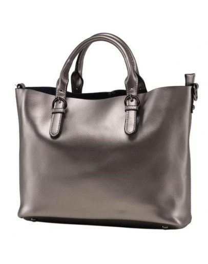 Фотография Женская кожаная сумка серего цвета GR3-8683GM