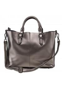Женская кожаная сумка серего цвета GR3-8683GM