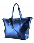 Фотография Кожаная женская сумка синего цвета GR3-8687BLM