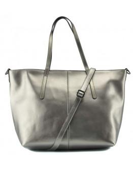 Кожаная женская деловая серебряная сумка GR3-8687GM