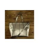 Фотография Кожаная женская деловая серебряная сумка GR3-8687GM