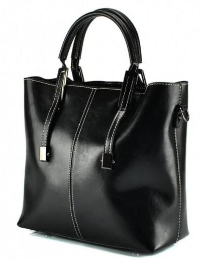 Фотография Женская черная удобная кожаная сумка GR3-872A