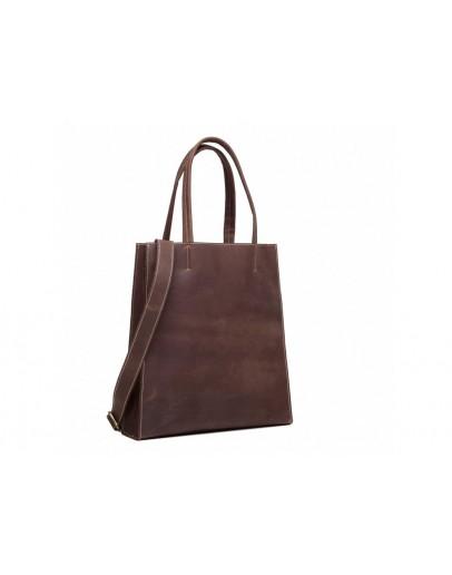 Фотография Кожаная женская темно-коричневая сумка GW9960R