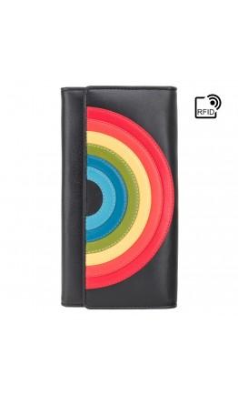 Черное женское портмоне мультиколор Visconti HR80 (Black Rainbow)