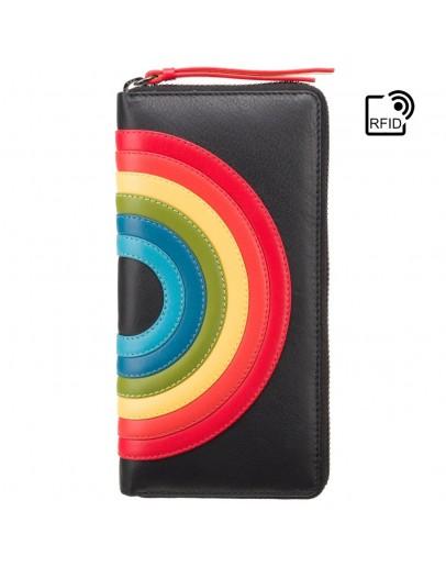 Фотография Женский кошелек кожаный Visconti HR82 Von c RFID (Black Rainbow)