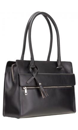 Женская черная кожаная сумка Visconti ITL78 (Black)