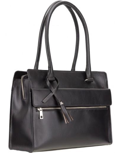 Фотография Женская черная кожаная сумка Visconti ITL78 (Black)