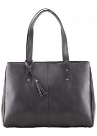 Женская черная деловая кожаная сумка Visconti ITL80 (Black)