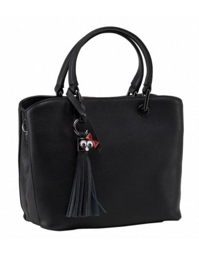 Фотография Черная женская кожаная сумка KJ1222878A