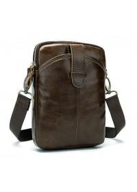 Коричневая небольшая сумка на пояс KM0403