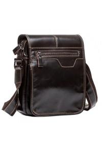 Коричневая кожаная сумка мужская с клапаном L1015