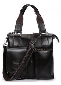 Темно-коричневая мужская сумка из глянцевой кожи L1123