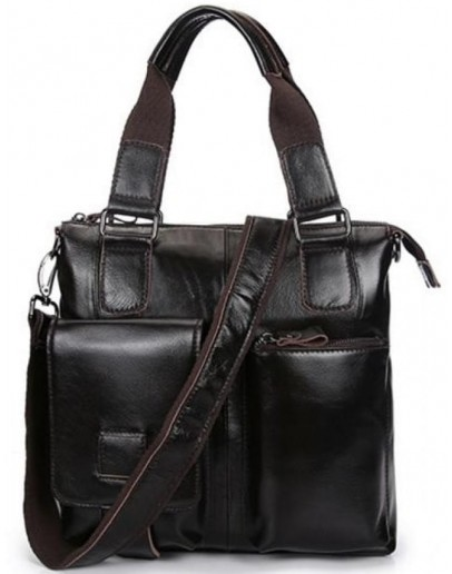 Фотография Темно-коричневая мужская сумка из глянцевой кожи L1123