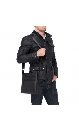 Черный кожаный мессенджер - планшетка M1092-2A