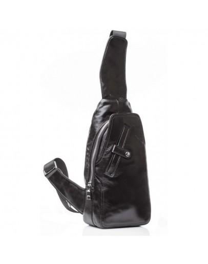 Фотография Кожаный черный мужской рюкзак - слинг M2028A