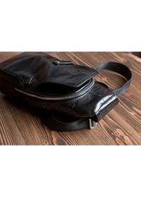 Кожаный черный мужской рюкзак - слинг M2028A