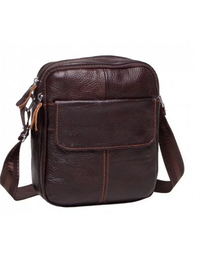 Фотография Коричневая небольшая мужская сумка плечевая M38-1030C