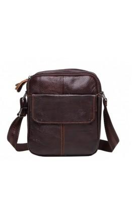 Коричневая небольшая мужская сумка плечевая M38-1030C