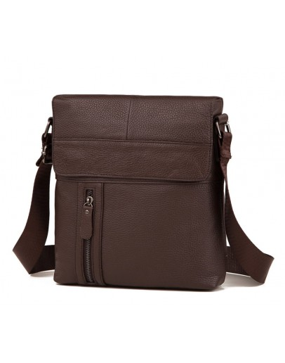 Фотография Мессенджер мужской коричневого цвета кожаный M38-1713C