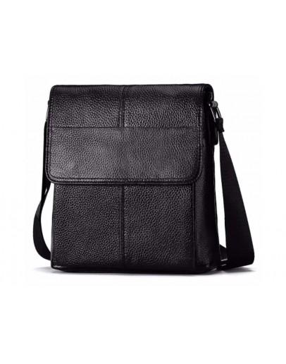Фотография Черная мужская сумка через плечо кожаная M38-3107A