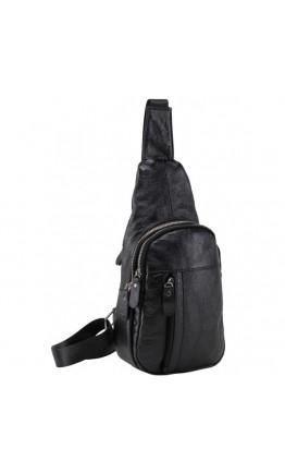 Кожаный слинг-рюкзак мужской черный M38-322A