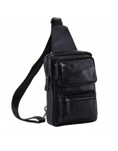 Фотография Черный мессенджер - рюкзак кожаный M38-3317A