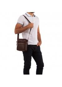Коричневая небольшая мужская сумочка на плечо M38-3922C