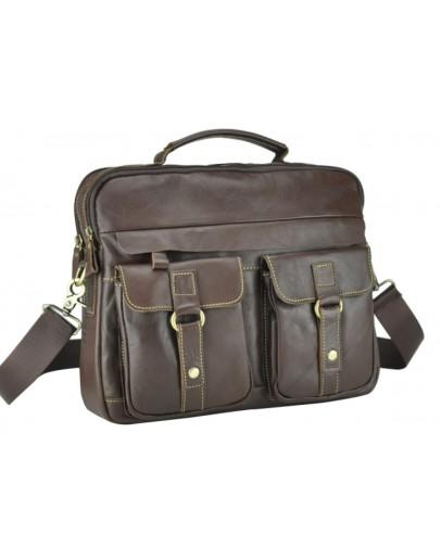 Фотография Коричневая кожаная мужская удобная сумка M38-5035C