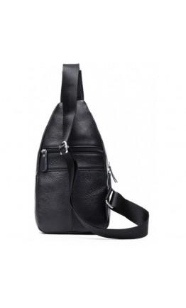 Кожаный черный мужской рюкзак, мессенджер M38-8151A