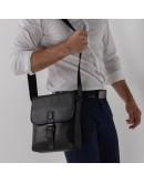 Фотография Мужской черный кожаный мессенджер M47-33037-2A