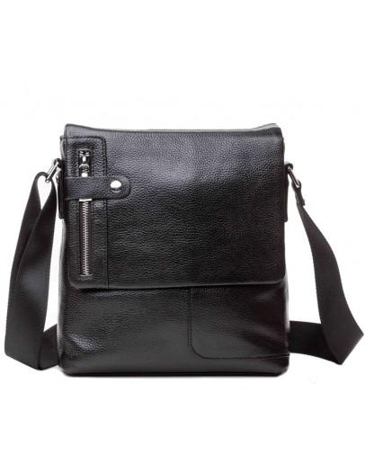 Фотография Черная мужская кожаная сумка с множеством карманов M6015A