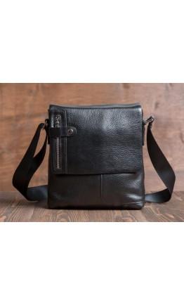 Черная мужская кожаная сумка с множеством карманов M6015A