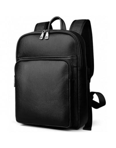 Фотография Кожаный рюкзак мужской черного цвета M7039A