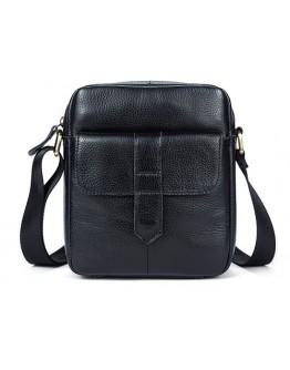 Черная небольшая сумка кожаная на плечо M7717A
