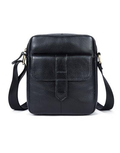 Фотография Черная небольшая сумка кожаная на плечо M7717A