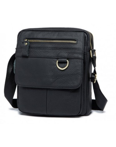 Фотография Кожаная мужская черная сумка M8088A