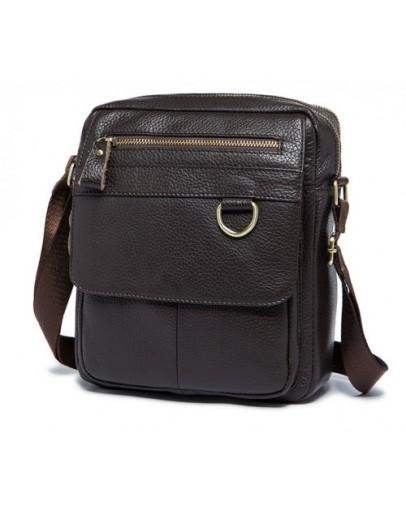 Фотография Кожаная мужская коричневая сумка M8088C